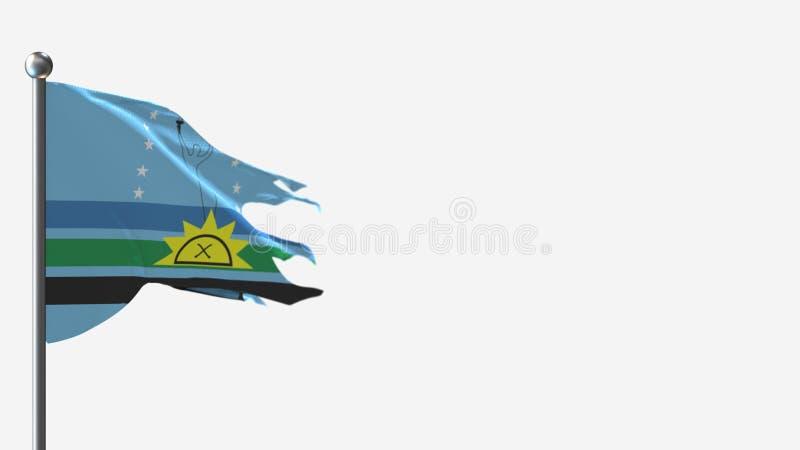 Monagas Venezuela 3D z tatuażem na Flagpole ilustracji