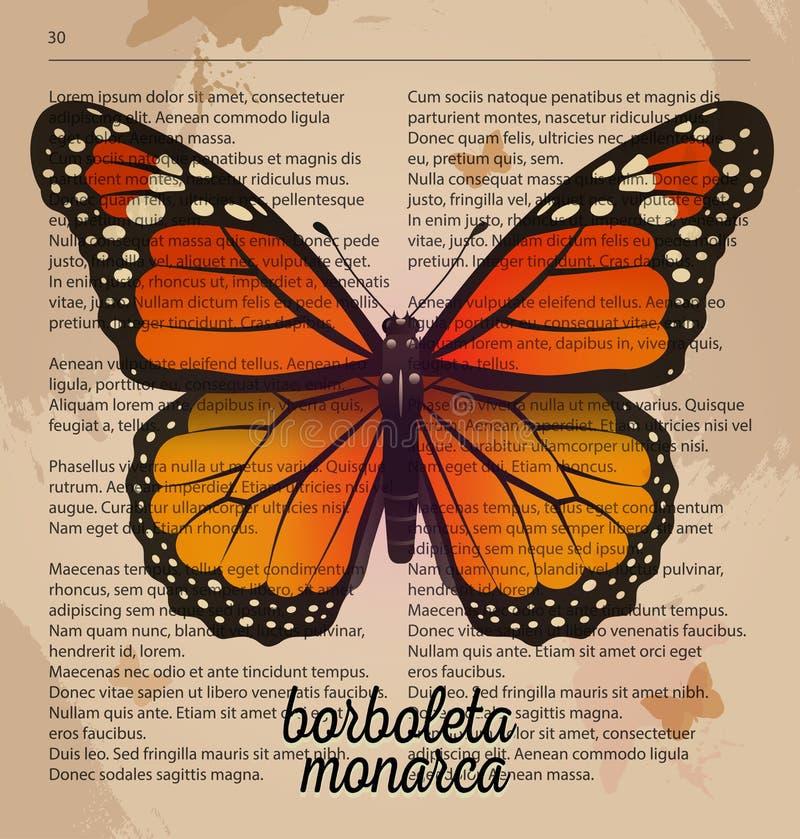 Monarca alaranjado do borboleta da borboleta da cópia do vetor Desenho imprimível da arte na página velha do dicionário ilustração royalty free