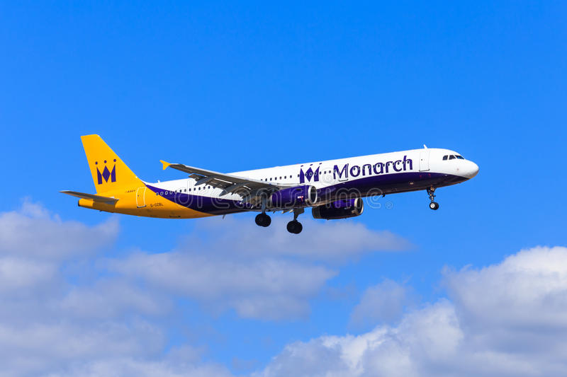 Monarch Airbus A321. UK airline Monarch Airlines Airbus A321 approaching to land stock images