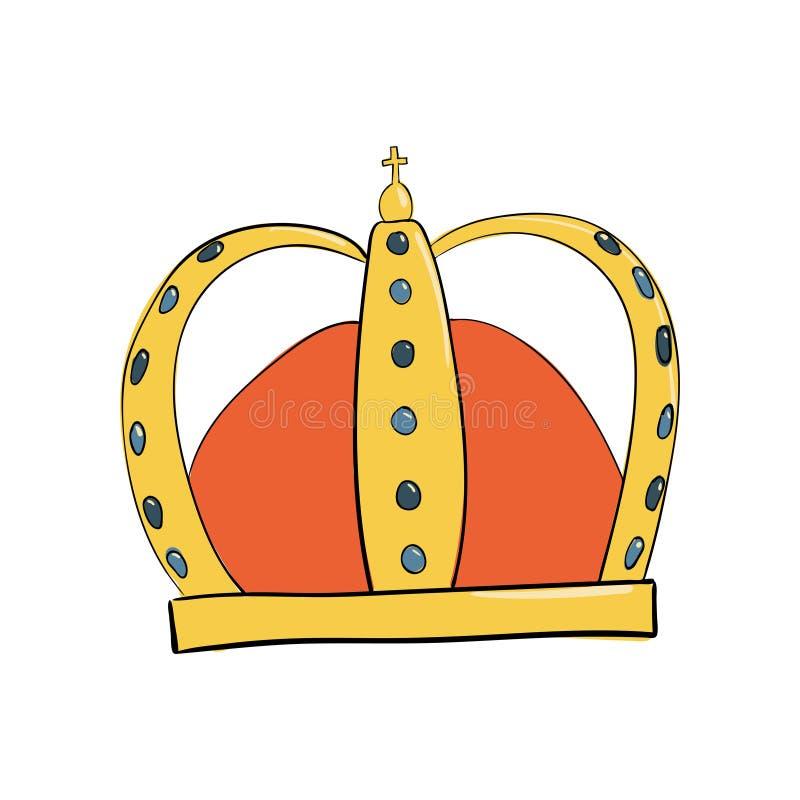 Monarchiczna korona z klejnotami i diamentami Symbol władza Headpiece królewiątko Ikony oznaczania insygnia i sukces ilustracji