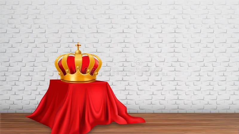 Monarchiczna Złota Królewska korona na Nowożytnej wystawie ilustracji