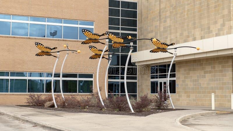 Monarchicznego motyla rzeźba David Hickman na zewnątrz Parkland Simmons ambita operacji centrum, Dallas, Teksas fotografia royalty free