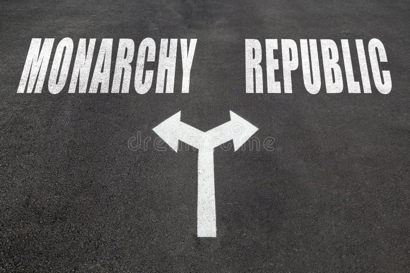 Monarchie versus de keusconcept van de republiek stock foto