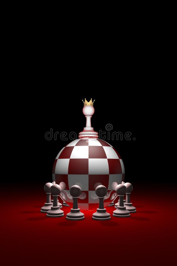 Monarchy. Power without oppositions. Chess metaphor. 3D render royalty free stock photo