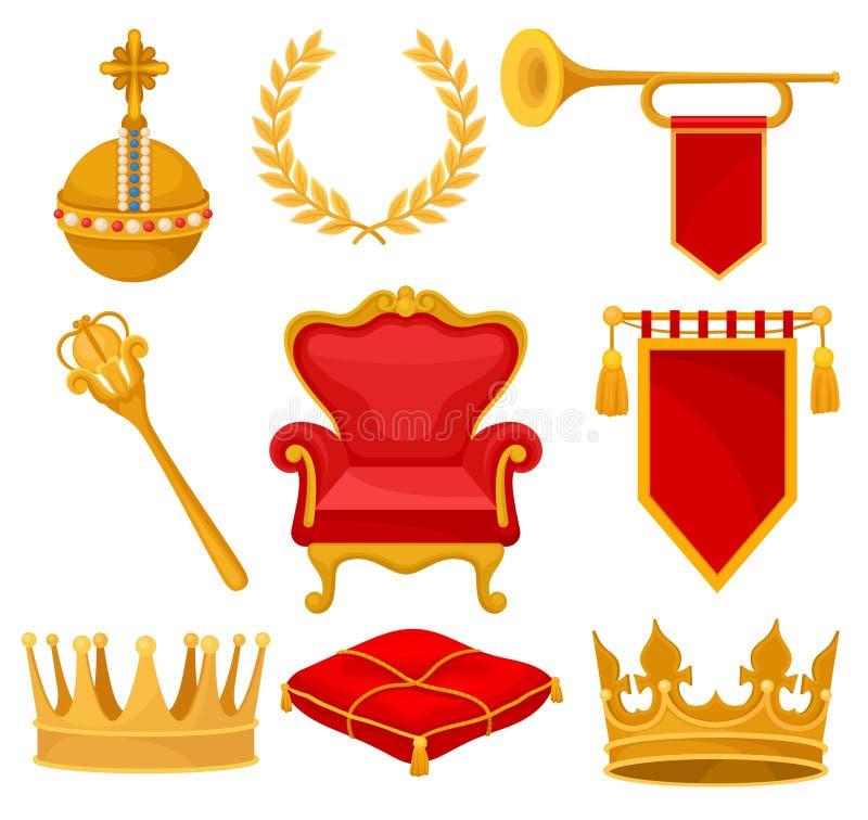 Monarkiattribut ställde in, den guld- orben, lagerkransen, trumpeten, biskopsstolen, spiran, den ceremoniella kudden, kronan, fla stock illustrationer