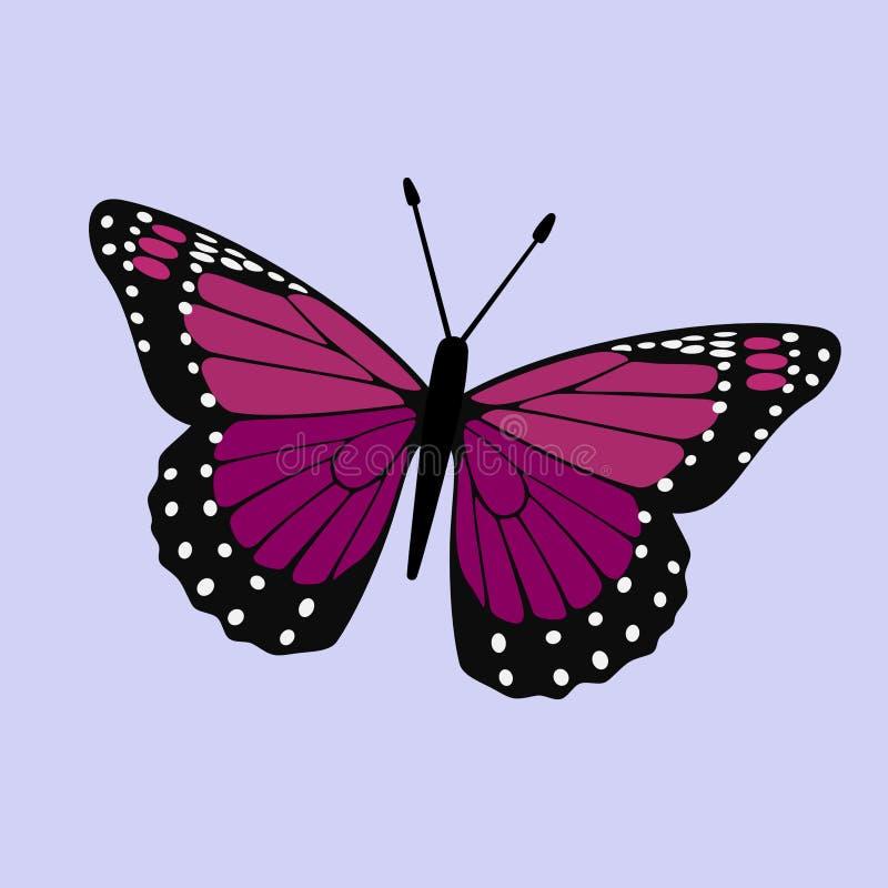 Monarque à ailes par pourpre rose - vecteur de papillon illustration libre de droits