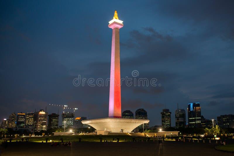 Monas nationell monument, centrala Jakarta, Indonesien arkivbild