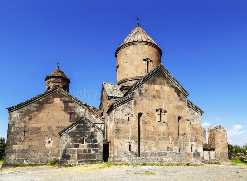 Monastère arménien médiéval Saghmosavank, situé près de la gorge de la rivière de Kassakh l'arménie photo libre de droits