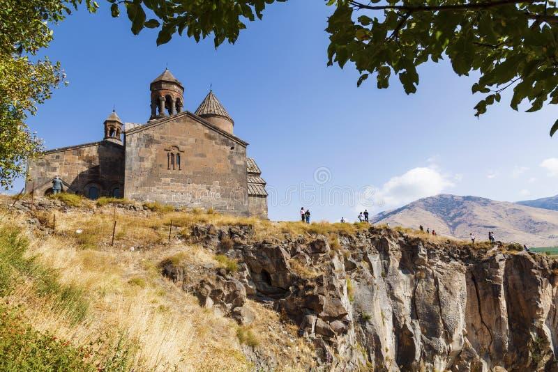 Monastère arménien médiéval Saghmosavank, situé près de la gorge de la rivière de Kassakh l'arménie photos stock