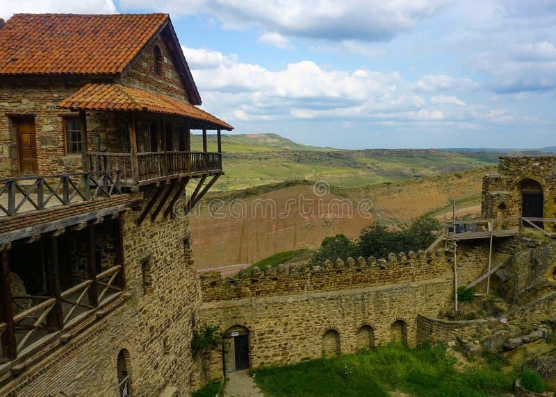 Monastère David Gareja Watchtower et mur image libre de droits