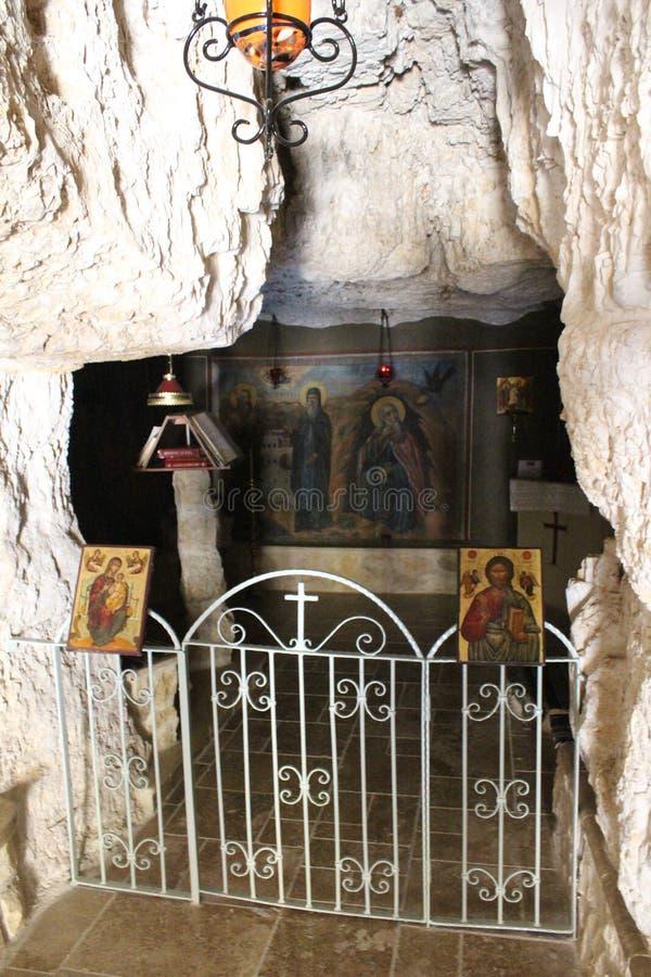 Monastère de George Koziba de saint, désert de Judean, près de Jéricho, monastère orthodoxe grec photographie stock libre de droits