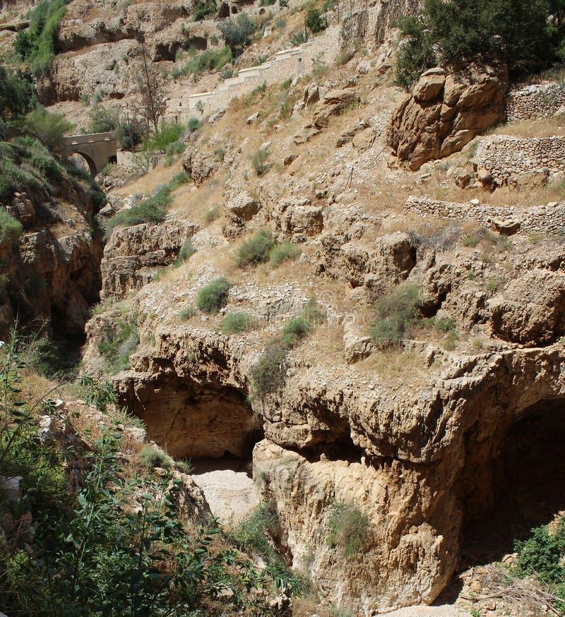 Monastère de George Koziba de saint, désert de Judean, près de Jéricho, monastère orthodoxe grec images stock
