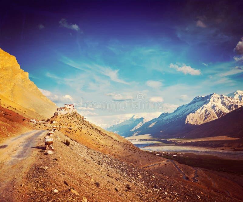 Monastère de Ki. Vallée de Spiti, Inde photographie stock libre de droits