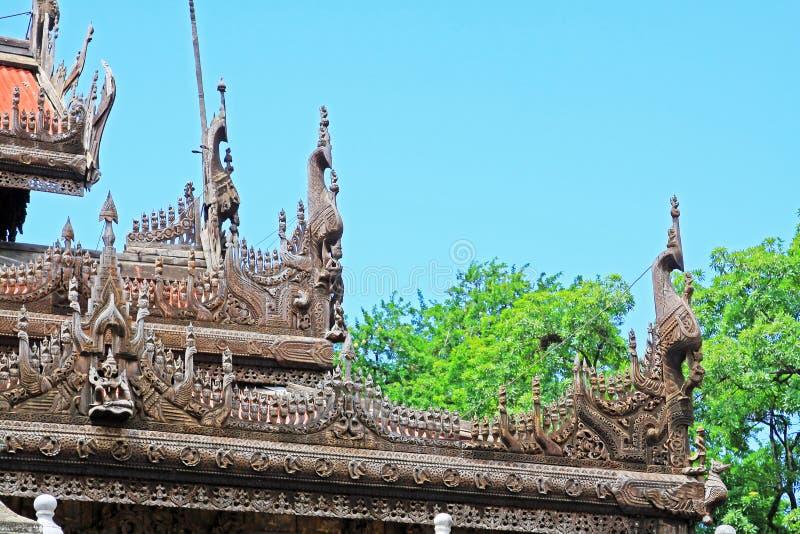 Monastère de Shwenandaw, Mandalay, Myanmar images libres de droits