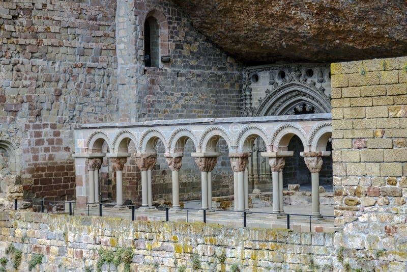 Monastère roman Huesca Espagne de San Juan de la Pena photos libres de droits