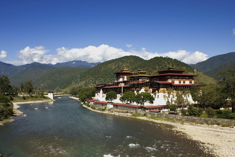 Monastério Bhutan de Punakha, Ásia imagens de stock