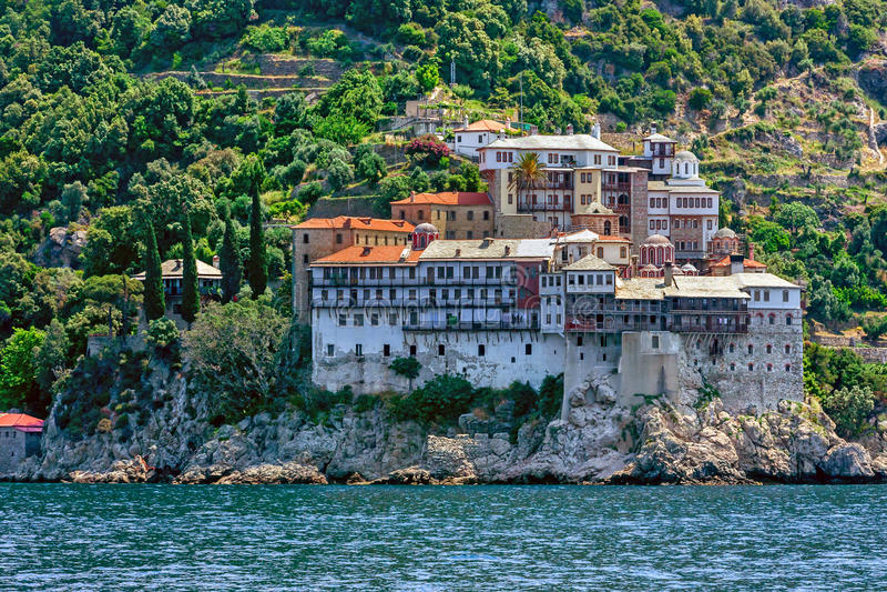 Monastério de Gregoriou, Monte Athos fotografia de stock