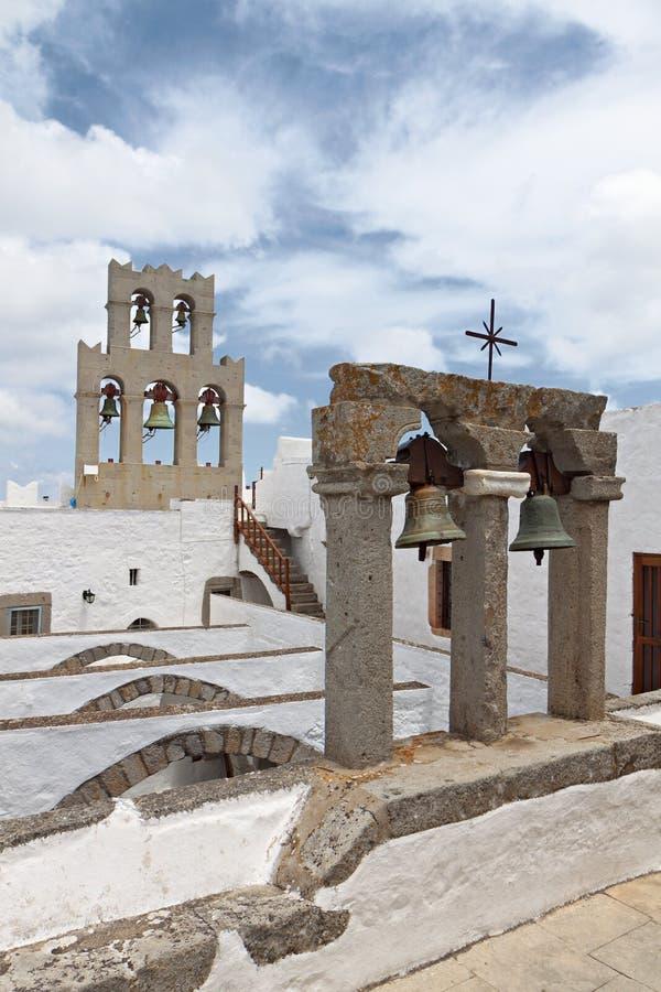 Monastério de John a ilha de Patmos do evangelista fotos de stock royalty free
