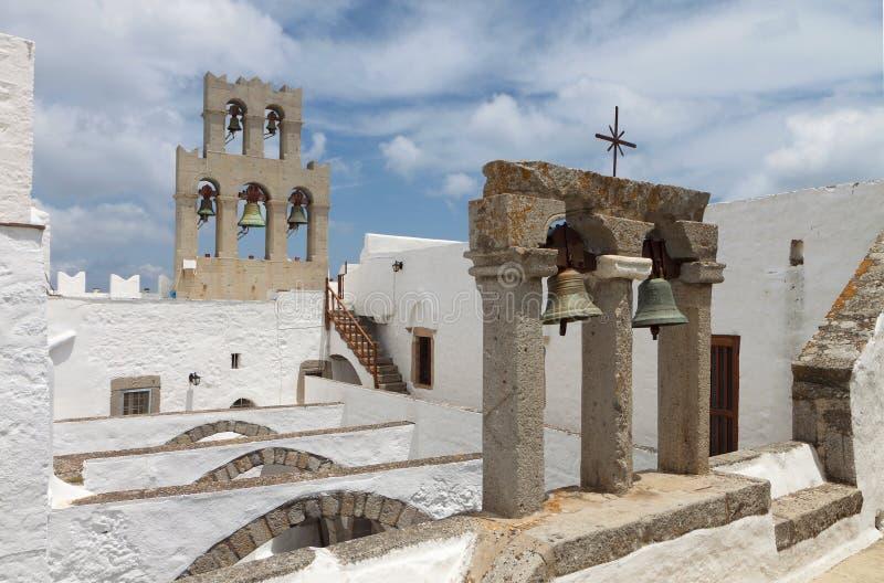 Monastério de John a ilha de Patmos do evangelista fotografia de stock royalty free