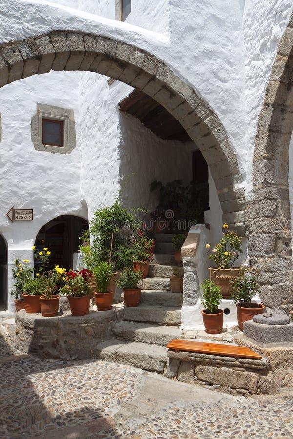 Monastério de John a ilha de Patmos do evangelista fotos de stock