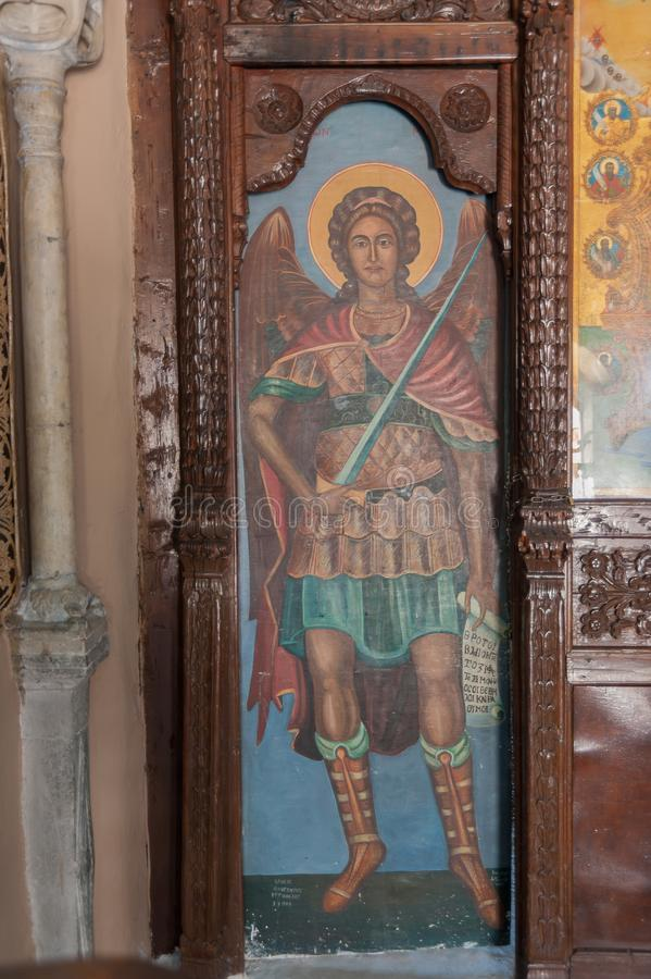 Monastério de Kalopetra, ilha do Rodes, Rodos, Grécia Retrato Pintura icónica na madeira fotos de stock royalty free