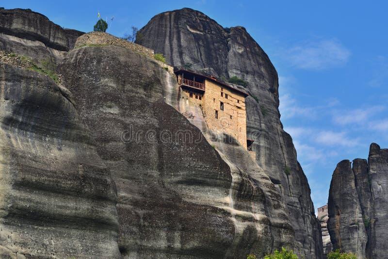 Monastério de St Nikolaos Anapafsas, Meteora, Grécia imagens de stock