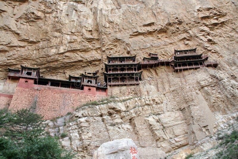 Monastério de suspensão famoso na província de Shanxi perto de Datong, China, imagens de stock
