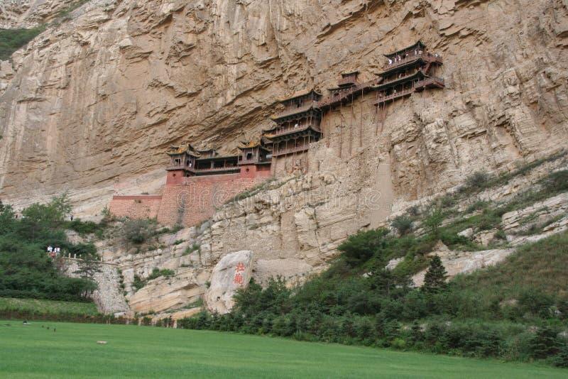 Monastério de suspensão famoso na província de Shanxi perto de Datong, China, imagem de stock royalty free