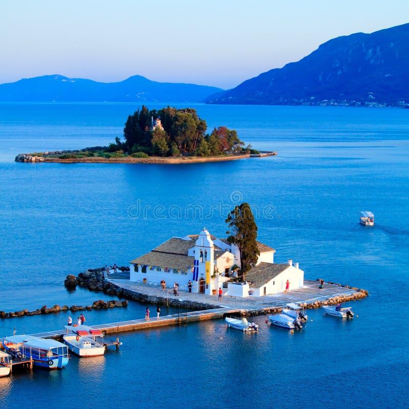 Monastério de Vlacherna, Kanoni, Corfu fotos de stock