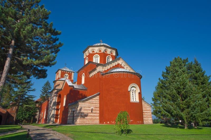 Monastério de Zica em Kraljevo, Sérvia fotografia de stock