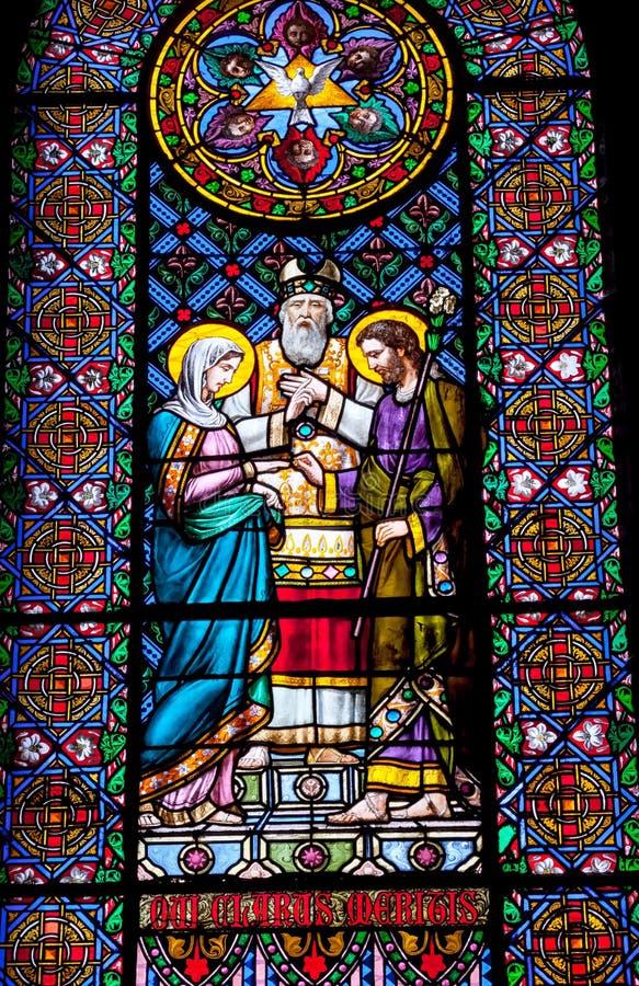 Monastério Montserrat da união de Mary Joseph do vitral fotografia de stock royalty free