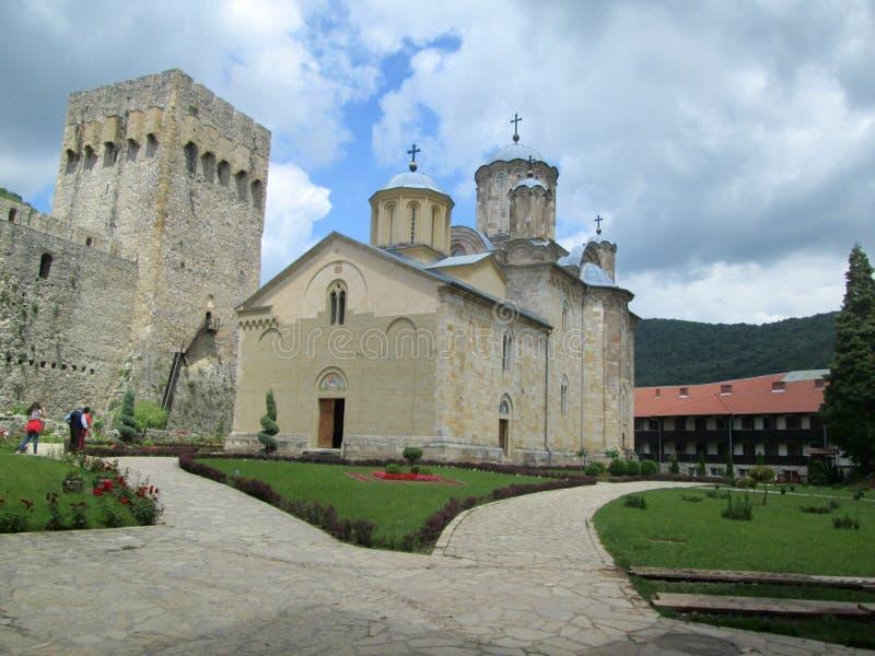 Monastério ortodoxo Manasija em Despotovac, Sérvia fotografia de stock