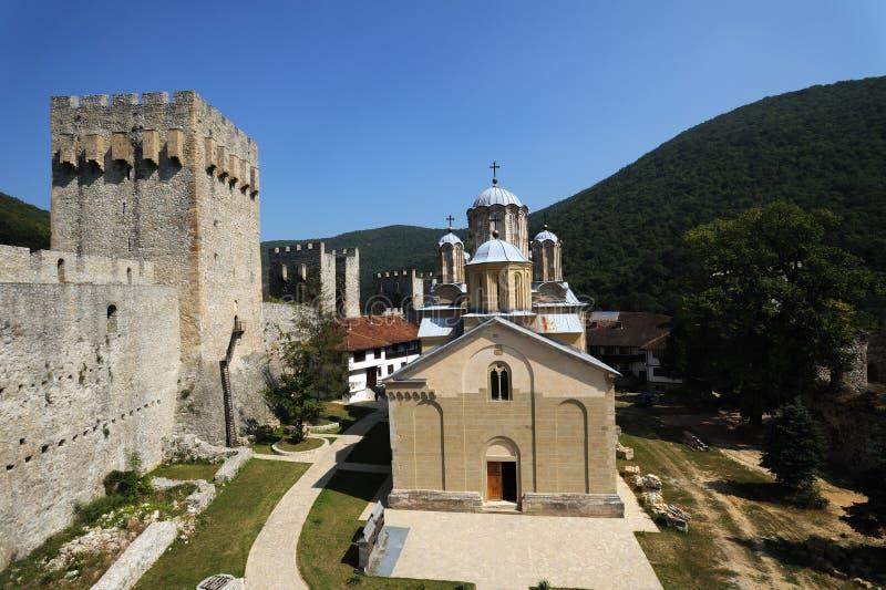 Monastério ortodoxo sérvio Manasija fotos de stock royalty free