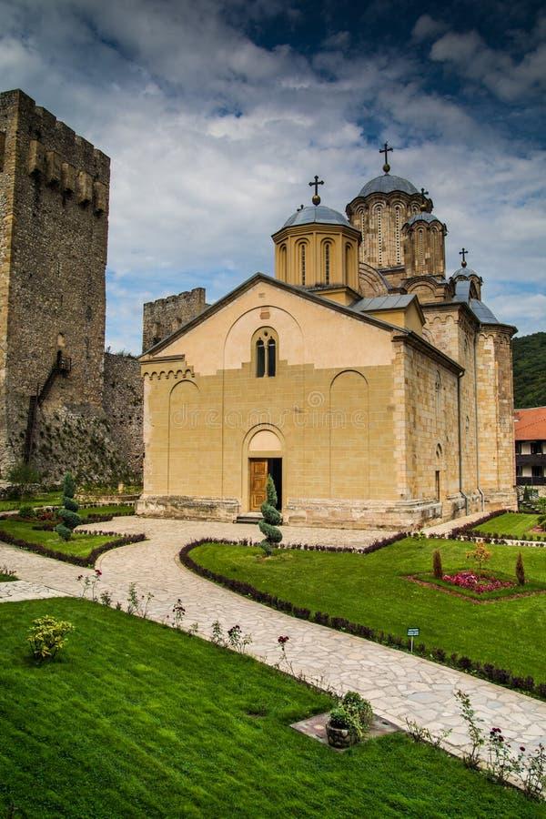 Monastério ortodoxo sérvio Manasija fotografia de stock royalty free
