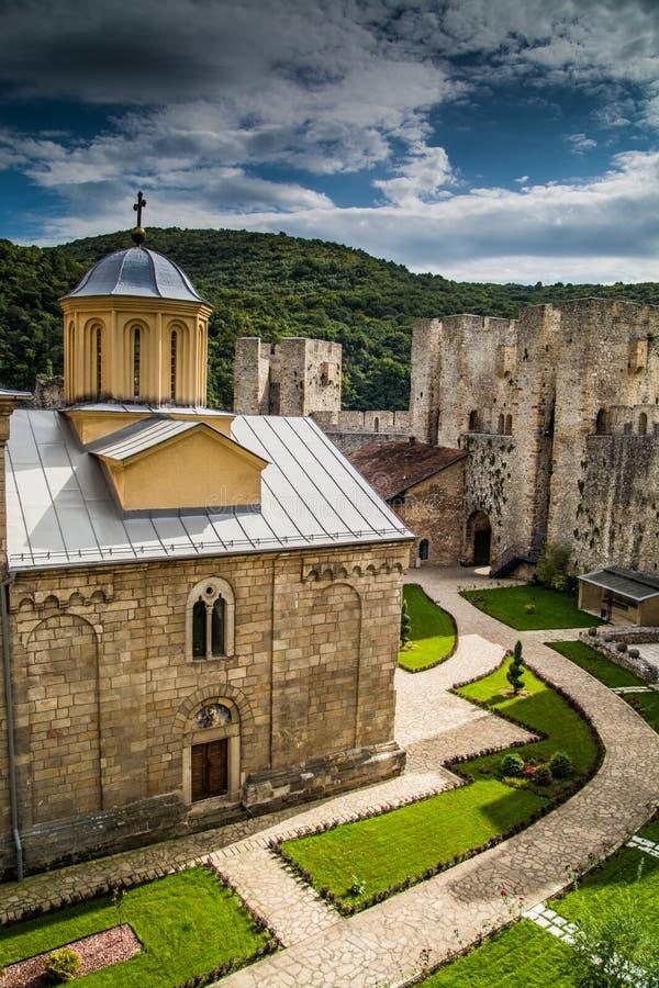Monastério ortodoxo sérvio Manasija imagem de stock