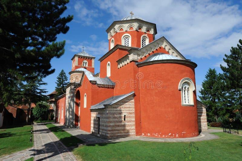 Monastério ortodoxo sérvio Zica fotos de stock royalty free