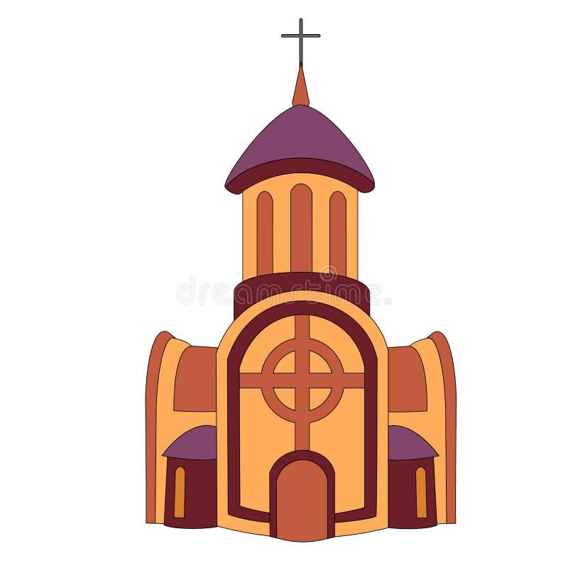 Monastério ou igreja lisa cristã católica com extensões nos lados e uma torre de sino com janelas e uma grande porta sob a ilustração royalty free