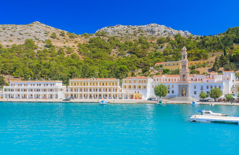 Monastério Panormitis Console de Symi Greece imagem de stock royalty free