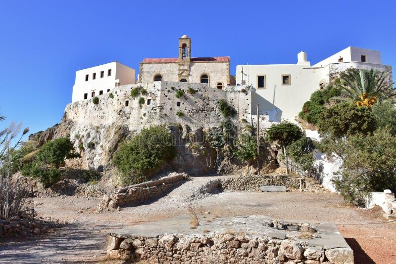 Monastério santamente de Panagia Chrysoskalitissa, Creta fotos de stock