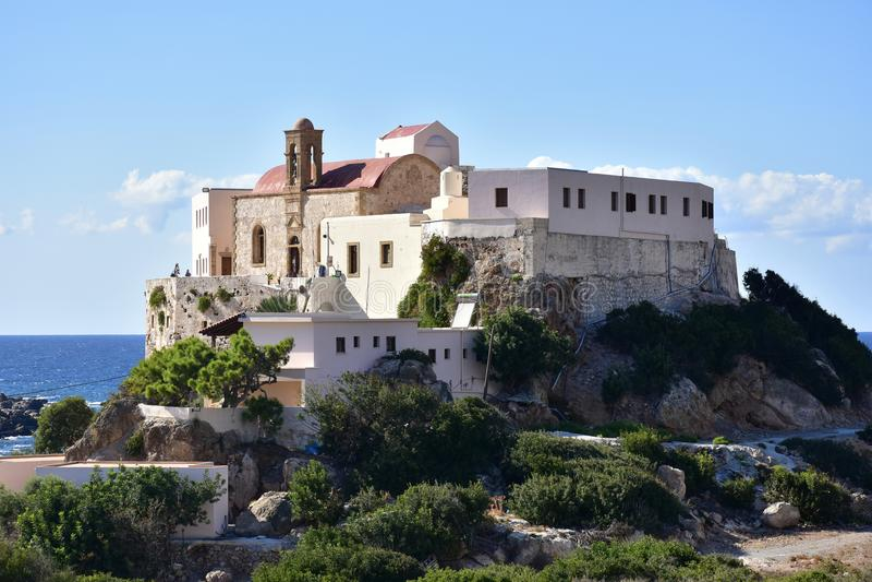 Monastério santamente de Panagia Chrysoskalitissa, Creta fotografia de stock