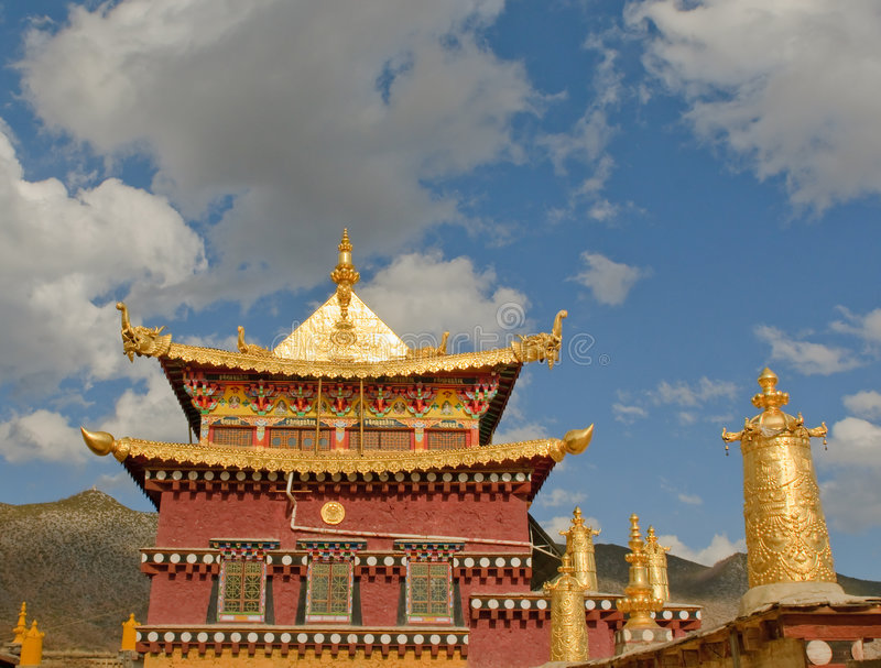 Monastério tibetano de Songzanlin, shangri-la, porcelana foto de stock