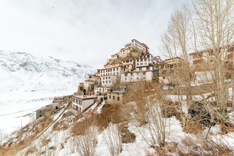 Monastério tibetano do gompa da chave nos Himalayas Vale de Spiti, Himachal Pradesh, ?ndia foto de stock royalty free