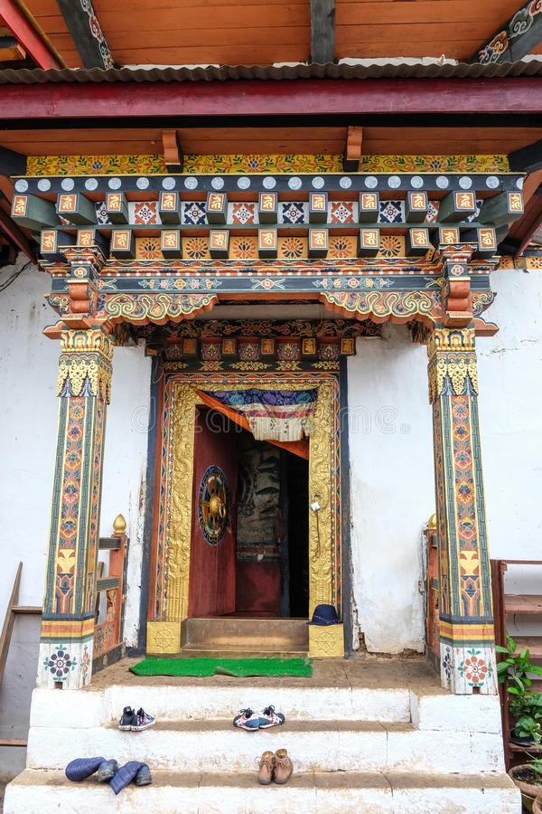 Monastério tibetano em Thimphu, Butão fotografia de stock