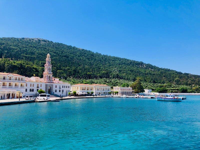 Monast?rio de Panormitis, console de Symi, Greece imagens de stock