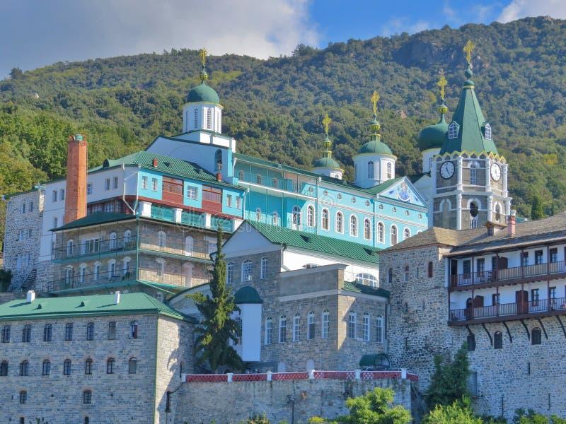 Monaster ażio Panteleimon rosjanin w świętym halnym Athos w Grecja zdjęcie stock
