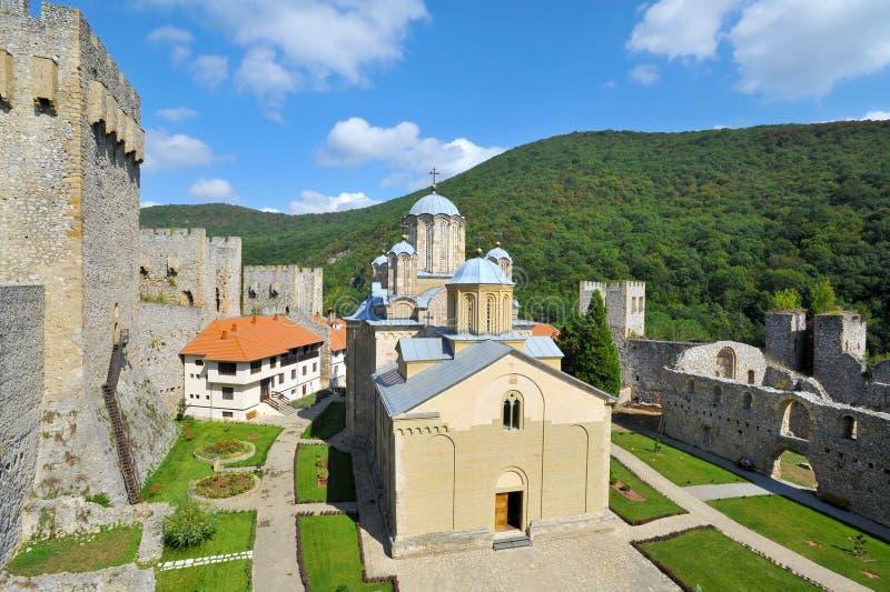 Monaster Manasija blisko Despotovac w Serbia zdjęcie stock
