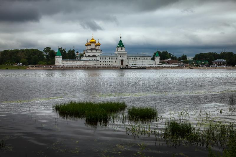 Monasteries of the old city of Kostroma. View from the river. Russian province. The beauty of Russia stock images