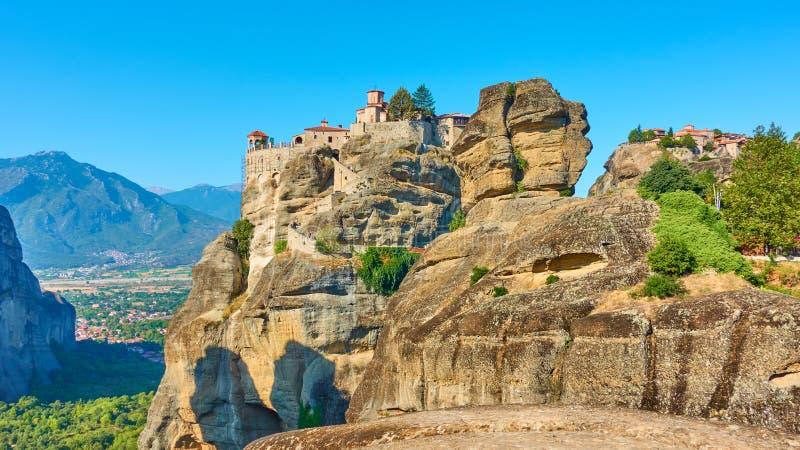 Monasteries of Varlaam and The Great Meteoron in Meteora stock photo