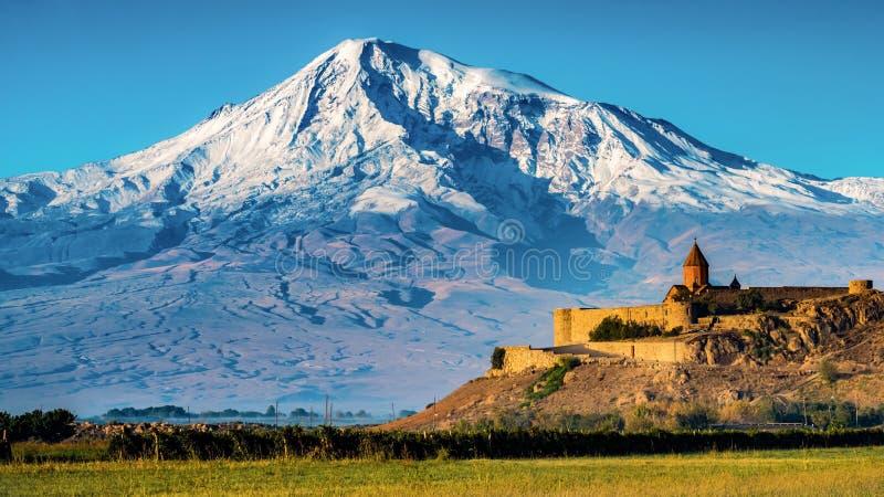 Monasterio de Khor Virap y Mt Ararat, Armenia fotos de archivo libres de regalías