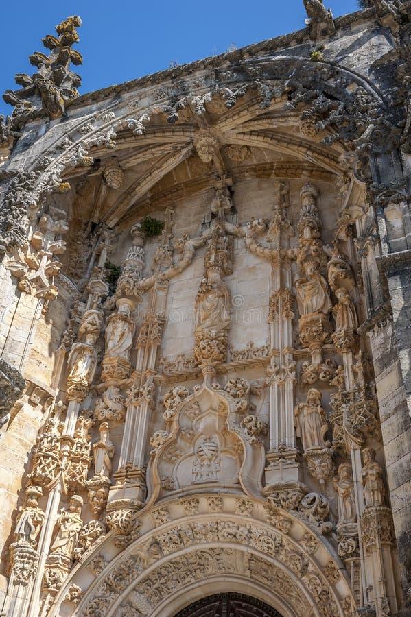 Monasterio de la orden de Cristo - fragmento de la entrada principal fotos de archivo libres de regalías